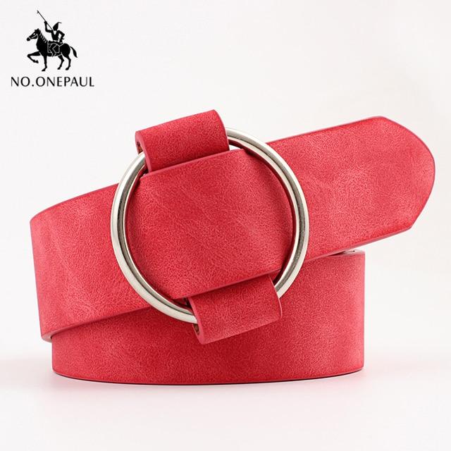 NO.ONEPAUL Genuine quality ladies fashion latest needle-free metal round buckle belt jeans wild luxury brand the women belt for 10
