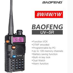 Image 2 - High Power 8W Baofeng UV 5R Walkie Talkie 10KM Portable CB ham Radio Station VHF UHF HF Transceiver Hunting UV5R Two Way Radio