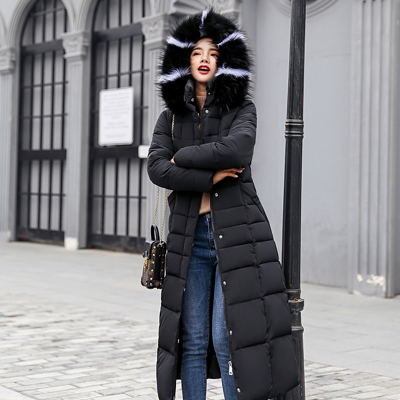 Europe And America WOMEN'S Cotton Clothes Over-the-Knee Long 2018 New Style Thick Winter Overcoat Hooded Large Fur Collar Slim F