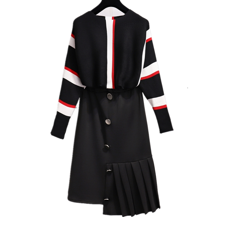 2019 Autumn Winter Women Elegant Striped Knitted Pullover Sweater+Button Elastic Waist Irregular Black Midi Skirt Suit 2PCS Set