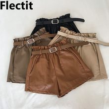 Flectit Women Paperbag Leather Shorts With Belt Front Pocket Fall Winter Faux Leather Wide Leg High Waist Shorts Khaki Outfit * new 2019 fall winter women real leather high waist wide leg shorts fashion high quality sheepskin leather short trousers a858