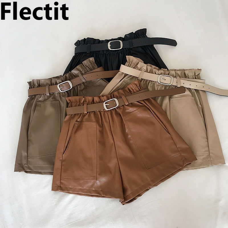 Flectit Women Paperbag Leather   Shorts   With Belt Front Pocket Fall Winter Faux Leather Wide Leg High Waist   Shorts   Khaki Outfit *
