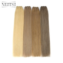 Weft-Extensions Human-Hair Blonde Straight-Bundles Double-Drawn Remy Neitsi 100g/Pc Black