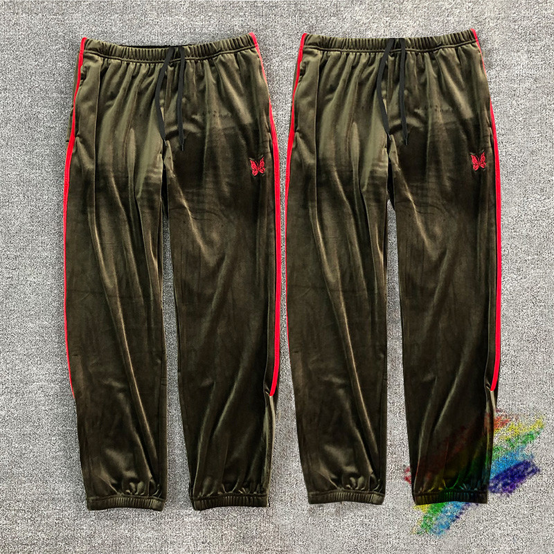 2020ss AWGE Needles Velvet  Sweatpants Men Women Top Quality Red Side Butterfly Embroidery Logo Pants Trousers