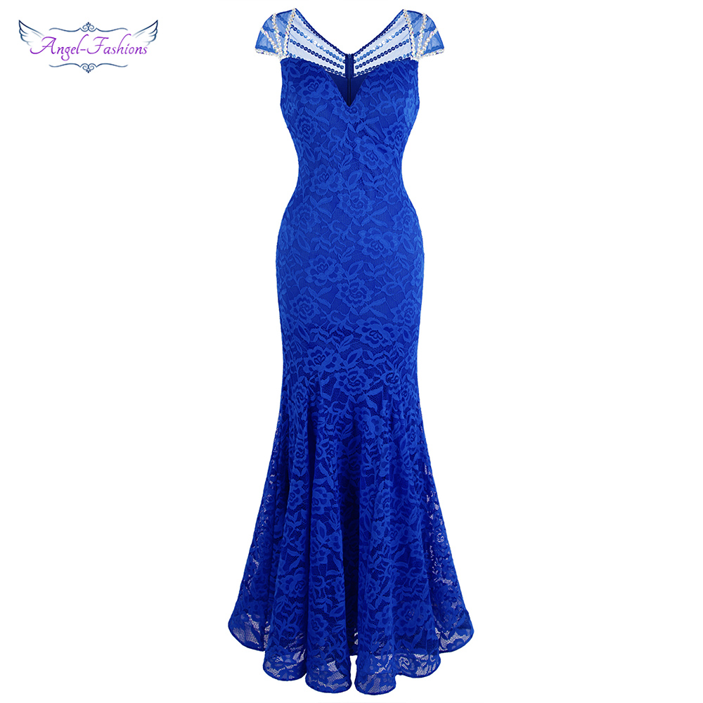 Angel-fashions Women's Cap Sleeve Beading Lace Evening Dresses Long Mermaid Wedding Party Gown Blue 482