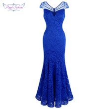 Angel fashions Womens Cap Sleeve Beading Lace Evening Dresses Long Mermaid Wedding Party Gown Blue 482