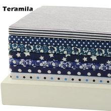 Teramila 100% хлопчатобумажная ткань белые и темно синие цветы/точки/полосы/звездный
