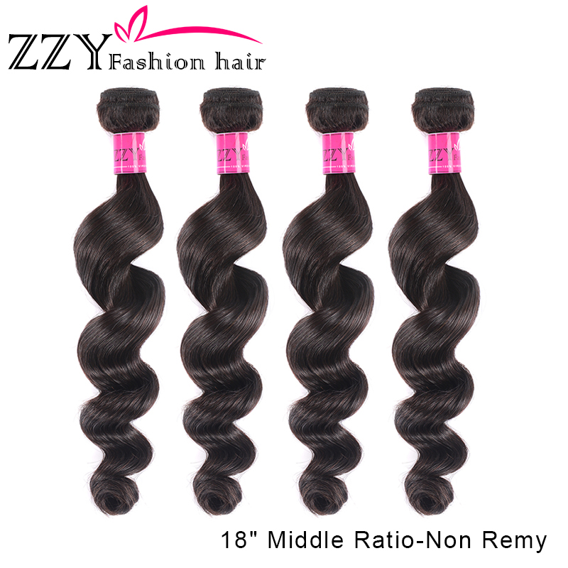 ZZY Fashion Loose Deep Wave Bundles Human Hair Bundles 4 Pieces Brazilian Non-remy Hair Weave Bundles