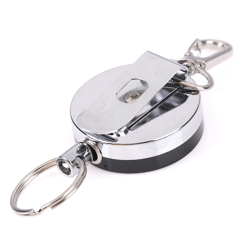 1PCS Steel Wire Rope Elastic Keychain Sporty Retractable Key Ring Anti Lost Keychain Safety Buckle  ID Card Holder Clips