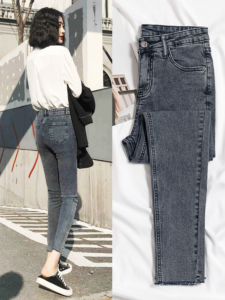 High Elastic Skinny Jeans Woman Gray Black Solid Chic Fashion Jean Female Korean High Waist Denim Pencil Pants Woman 2020 New