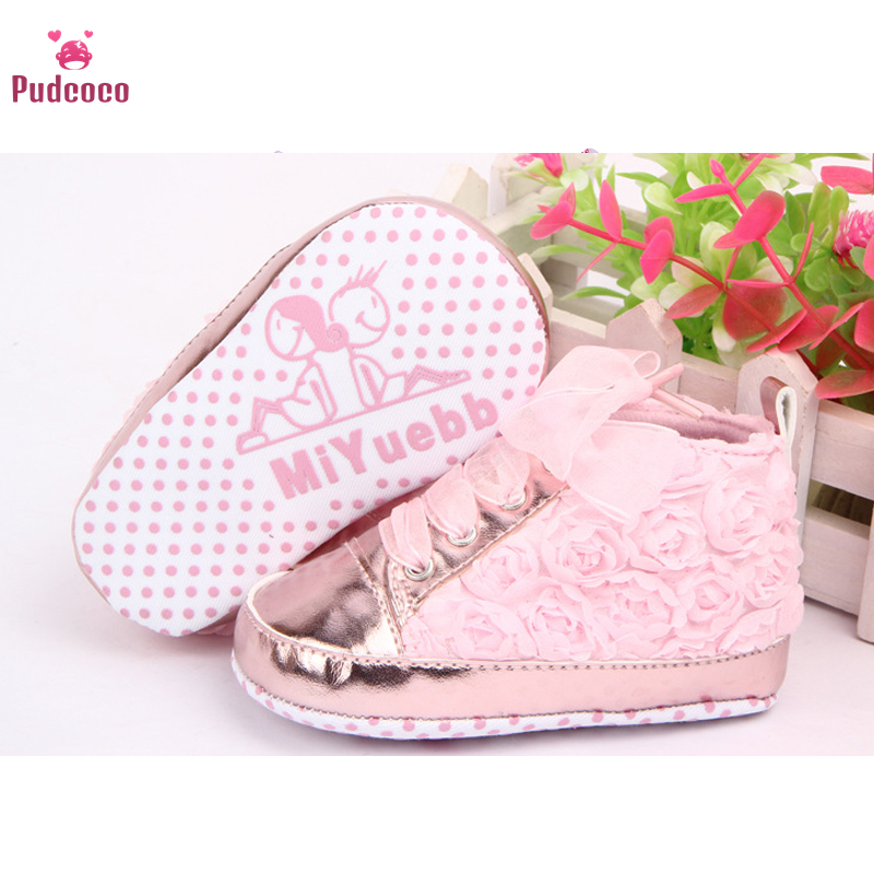 Pudcoco Brand Newborn Baby Girls Shoes 1 Years PU Leather Non Slip Pink Lace Floral Shoes Prewalker Walking Kids Shoes 3 Colors