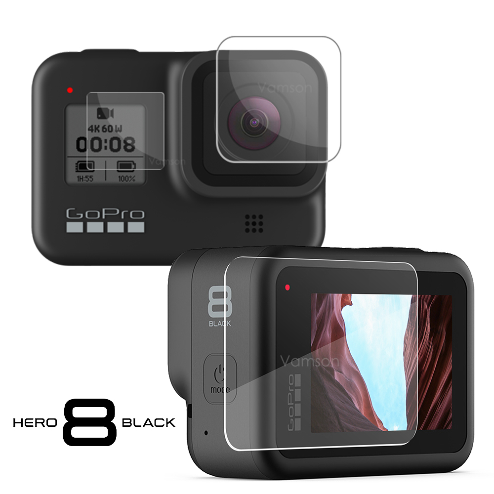 Vamson For GoPro Hero 8 Tempered Glass For GoPro Accessories Lens Cap LCD Screen Protective Film For Gopro 8 Action Camera VP720