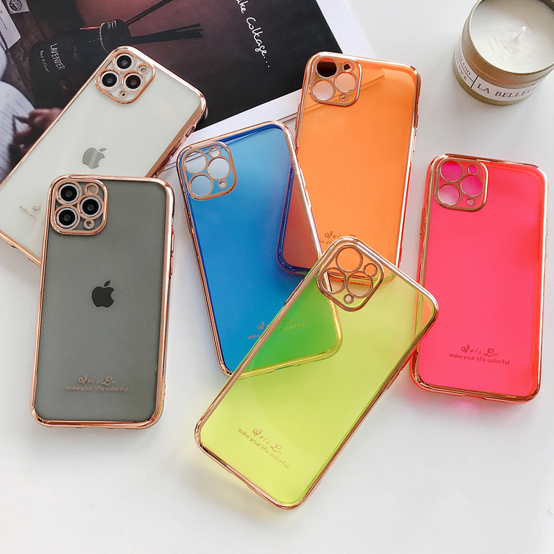 Electroplating Fluorescent Phone Case For iPhone 6 6s 7 8 8Plus X XR XsMAX 11Pro 11 11ProMAX Transparent Colorful Tpu Back Cover