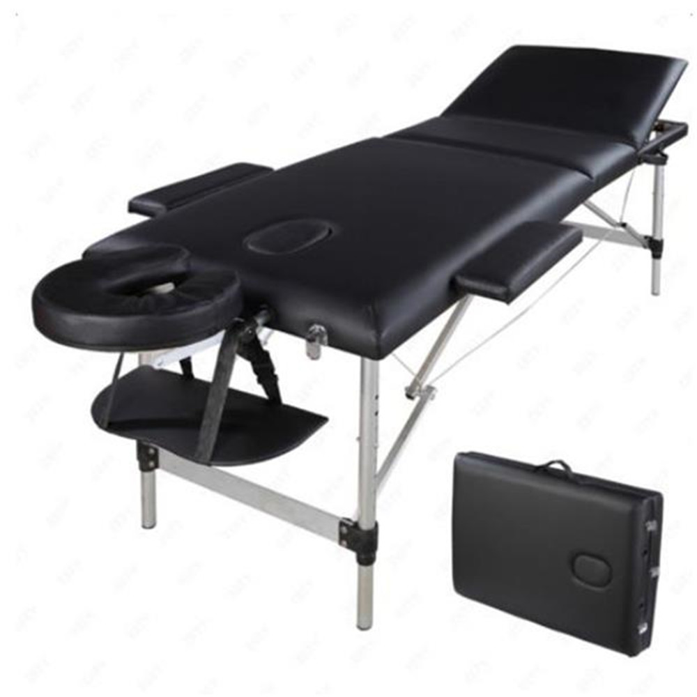 3 Sections Folding Aluminum Tube SPA Bodybuilding Massage Table Kit Black Beauty Table For Beauty Salon