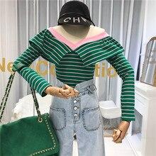 купить Striped V-Neck T Shirt Women High Street Crop Top Womens Long Sleeve Tops Streetwear Korean Fashion Tee Shirt Femme дешево