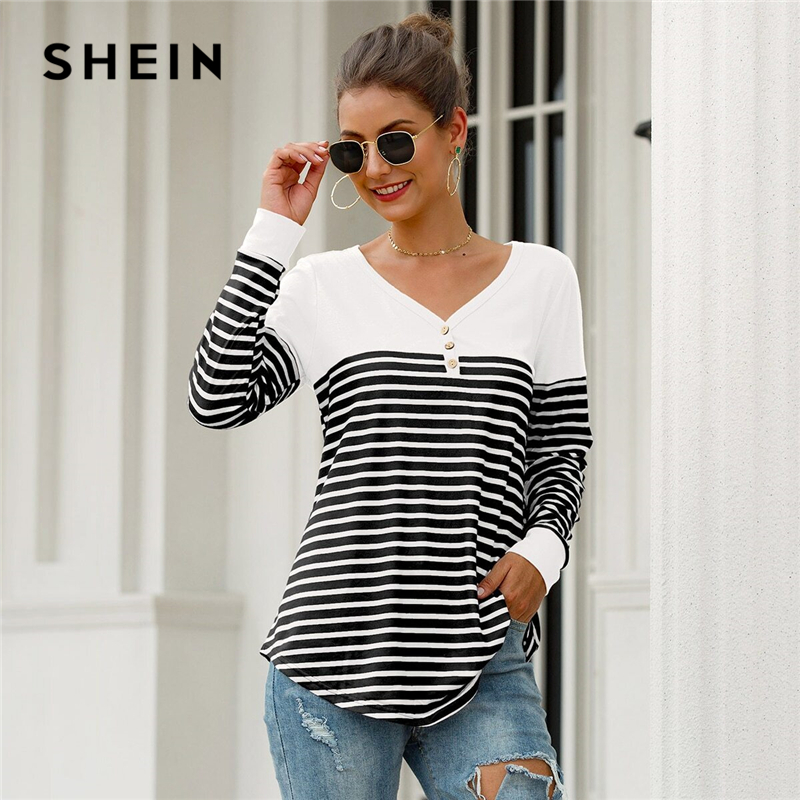 SHEIN Black And White Striped Button Front Curved Hem Tee Women Spring Half Placket V-neck Long Sleeve Casual T-shirts