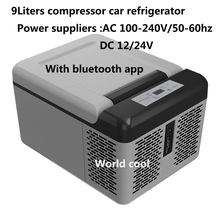 9 litrów przenośna lodówka sprężarka zasilany elektrycznie Cooler lodówka zamrażarka na kemping podróży na zewnątrz domu Use12 24V DC tanie tanio world cool Rohs Zużytego sprzętu elektrycznego i elektronicznego CN (pochodzenie) 16 69inch 12 v 12 59inch 7 5kg 9 84inch
