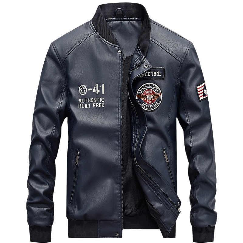 2019 Fashion Lederen Bomberjack Mannen Herfst Winter Militaire Jassen Mannelijke Fleece Voering Uitloper Jassen Warm PU Baseball Jassen