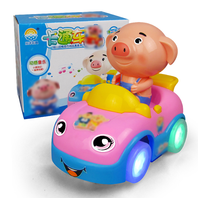 New Style Seagrass Pigskin Electric Universal Music Children'S Educational Toy Electric Cartoon Car Taobao Stall Hot Selling