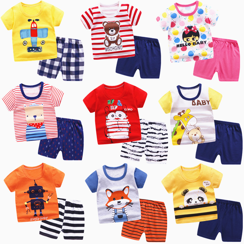 2020 New Summer Baby Clothing Set Children Short Sleeevd Cartoon T-shirt + Shorts Suit Cute Kids Cotton Animal Outfits Pajamas
