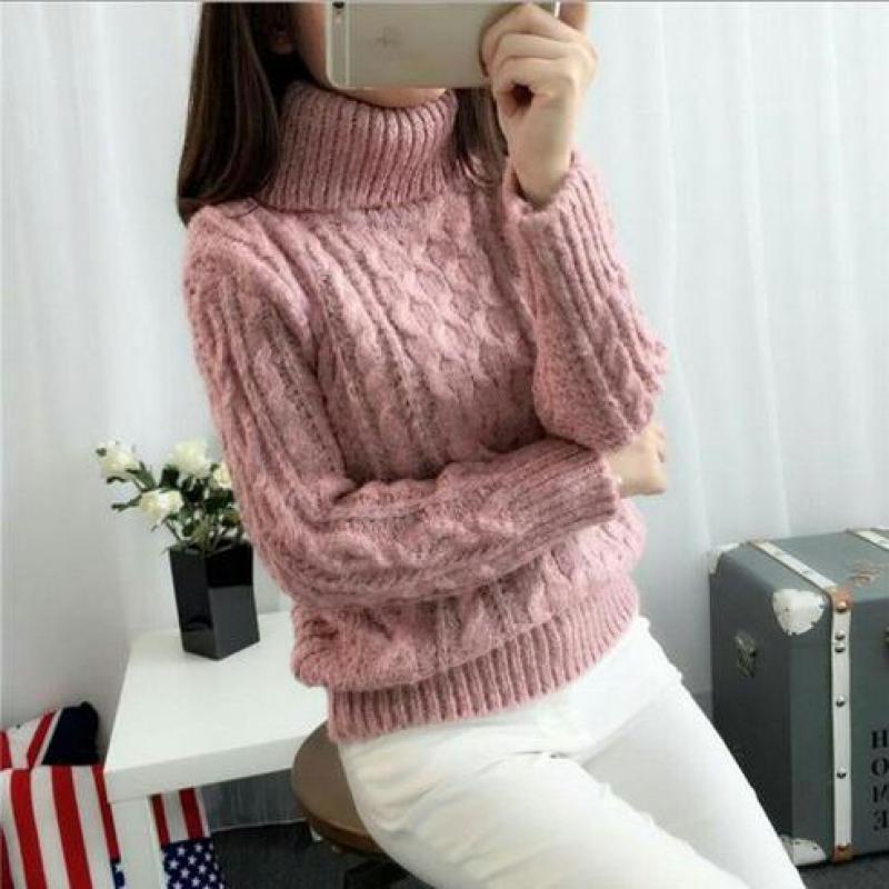 Crochet femmes chandail 2019 mode coréenne col haut chaud mode pull chemise automne hiver dames chandail filles étudiants