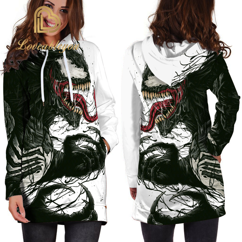 Superhero Venom Hoodies Autumn Women Sweatshirt Cosplay Venom Slim Long Sleeve Pullovers Dresses
