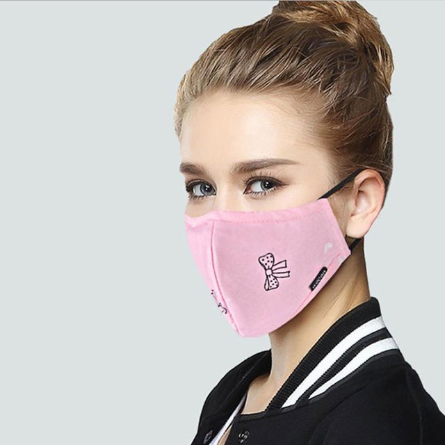 PM2.5 Cotton Black Mask mouth face Mask Anti dust Mouth Mask with 2pcs Activated Carbon Filter korean Mask Fabric Face Mask 5
