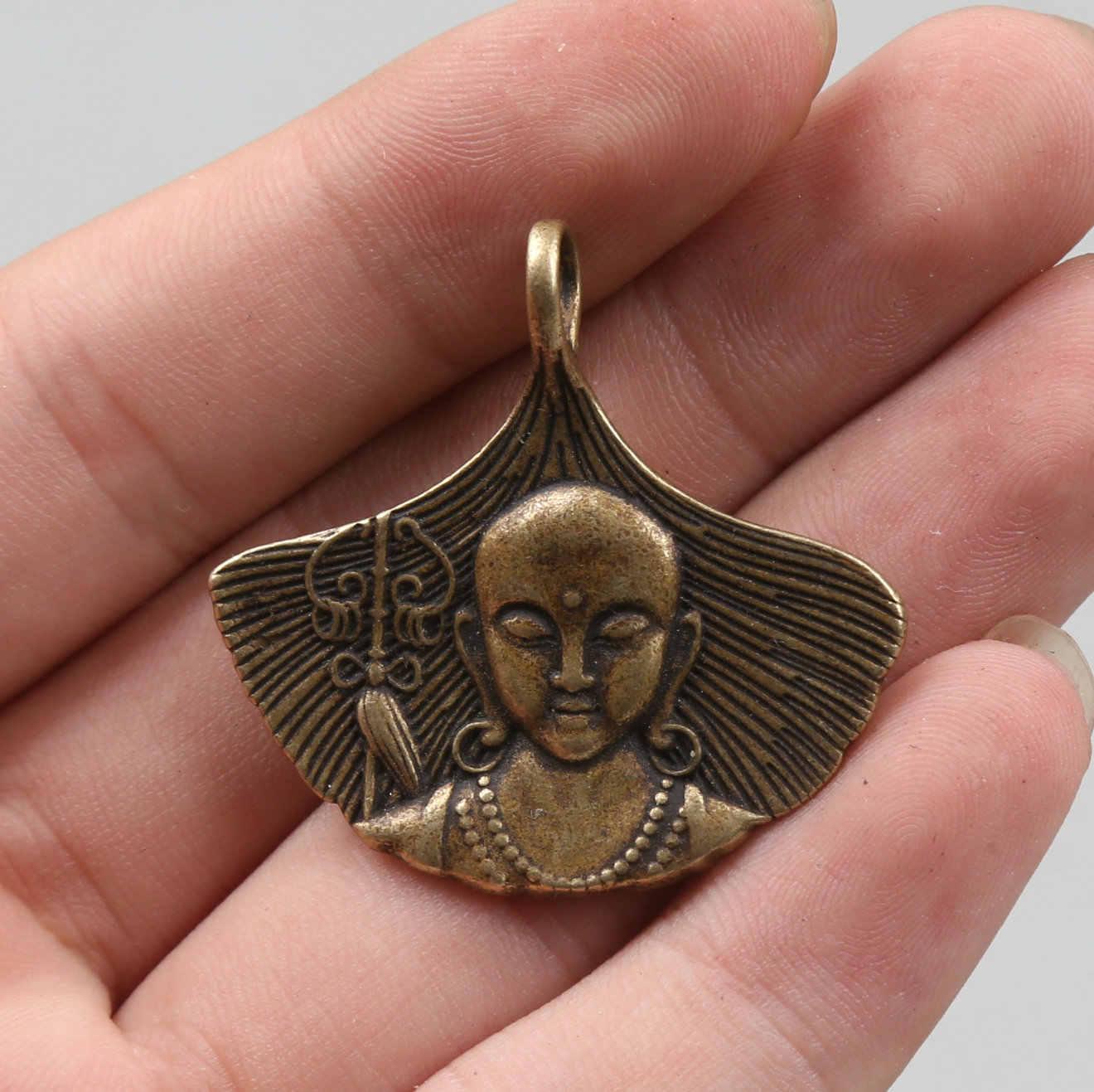 """35 Mm/1.4 """"Koleksi Barang Antik Langka Kecil Perunggu Indah Buddhisme Tibet King Bodhisattva Amulet Liontin Patung Statuary10g"""