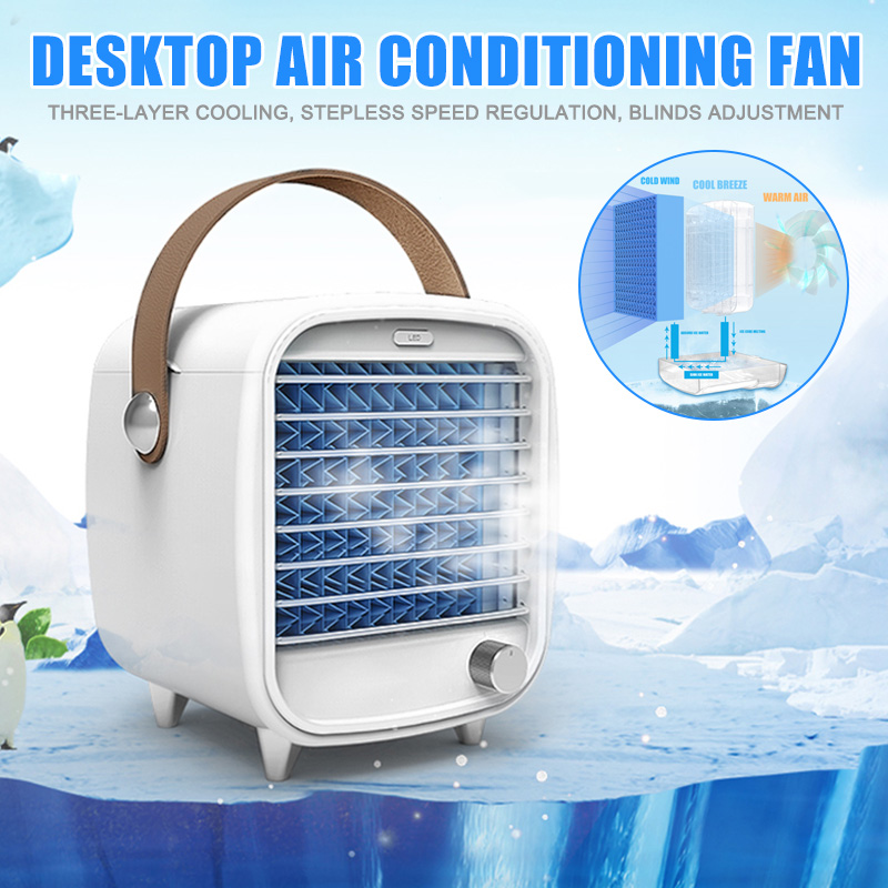 Mini Air Conditioner Portable Bladeless Cooling Fan USB Desktop Fan Air Cooler With  Night Light For Home Office BJStore