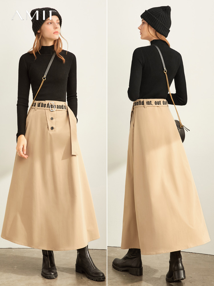 Amii Autumn High Waist Solid Color Skirt Women Causal Letter Ankle-Length Elastic Waist Skirt 11930295