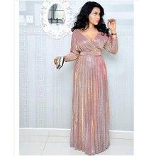 Африканские платья для женщин, новинка,, популярные цветные Бронзовые женские вечерние платья, длинное платье с v-образным вырезом для молодых девушек