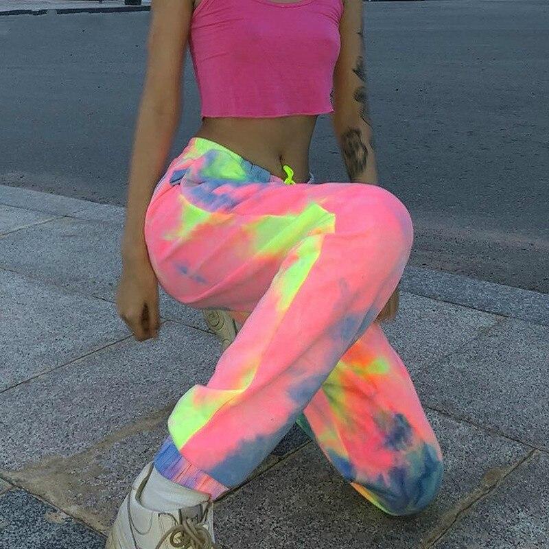 Women 's Tie-dye Sweatpants Sesame Nylon Tie Color Jogging High Waist Long Bag Pants Women 's Sports Pants Ampere Street Pants