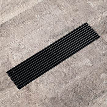 304 Stainless Steel Black Floor Drain Rectangle 30x7cm Bathroom Hair Strainer Kitchen Toilet Anti Odor Drains HIDEEP