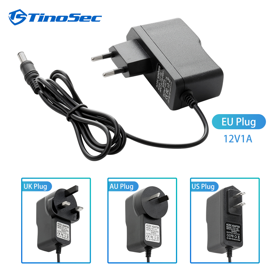 TinoSec AC 100-240V DC 12V 1A 3meters Converter power Adapter Charger Power Supply 12V Volt Security Cameras