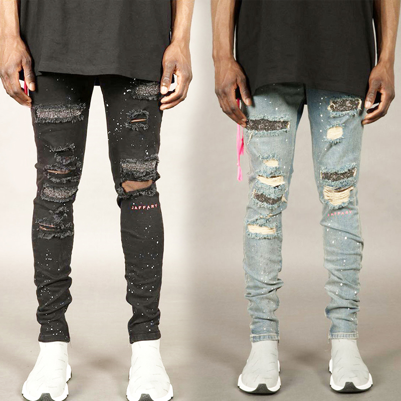 Men's Jeans Stretchy Denim Skinny Jeans Fashion Ripped Hole Pants Youth Destroyed Pencil Jeans Men Diamond Decoration Jean
