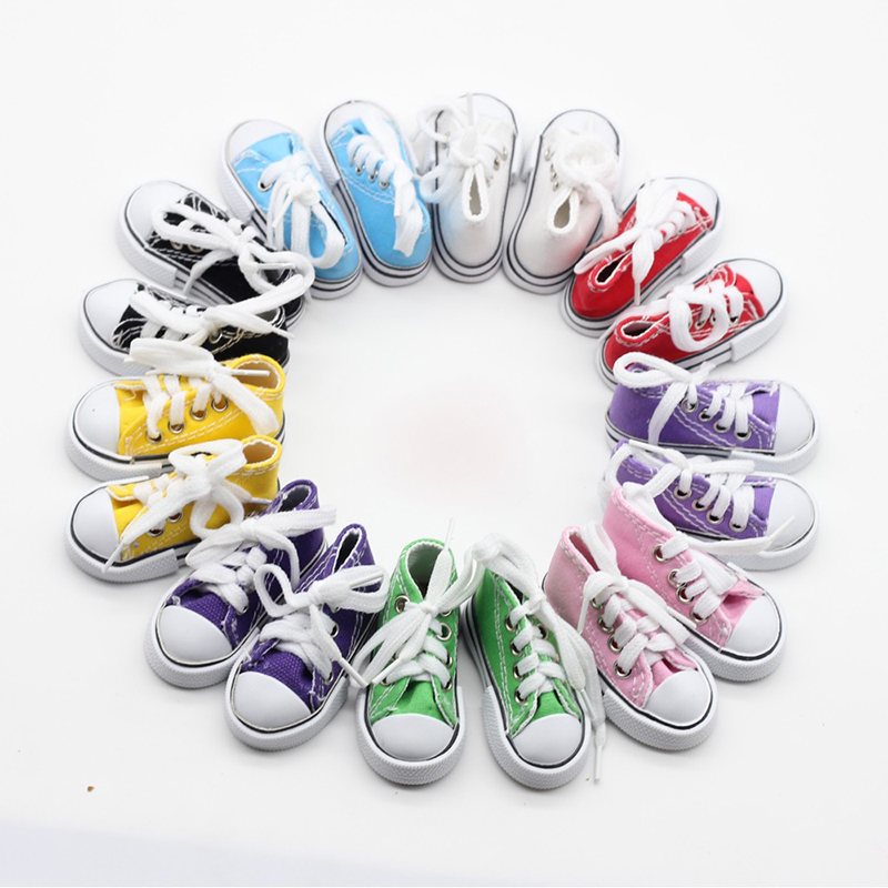 1 Pair 7.5CM Doll Sneakers Assorted Colors Doll Canvas Shoes For 1/3 1/4 BJD Dolls Toy Hand Made  Boots Doll Accessories Clothes