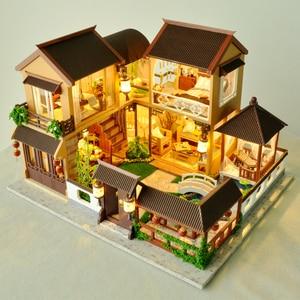 Image 5 - 子供たちのおもちゃdiyドールハウス組み立てるミニチュアドールハウス家具ミニチュアドールハウスパズル教育玩具子供のため