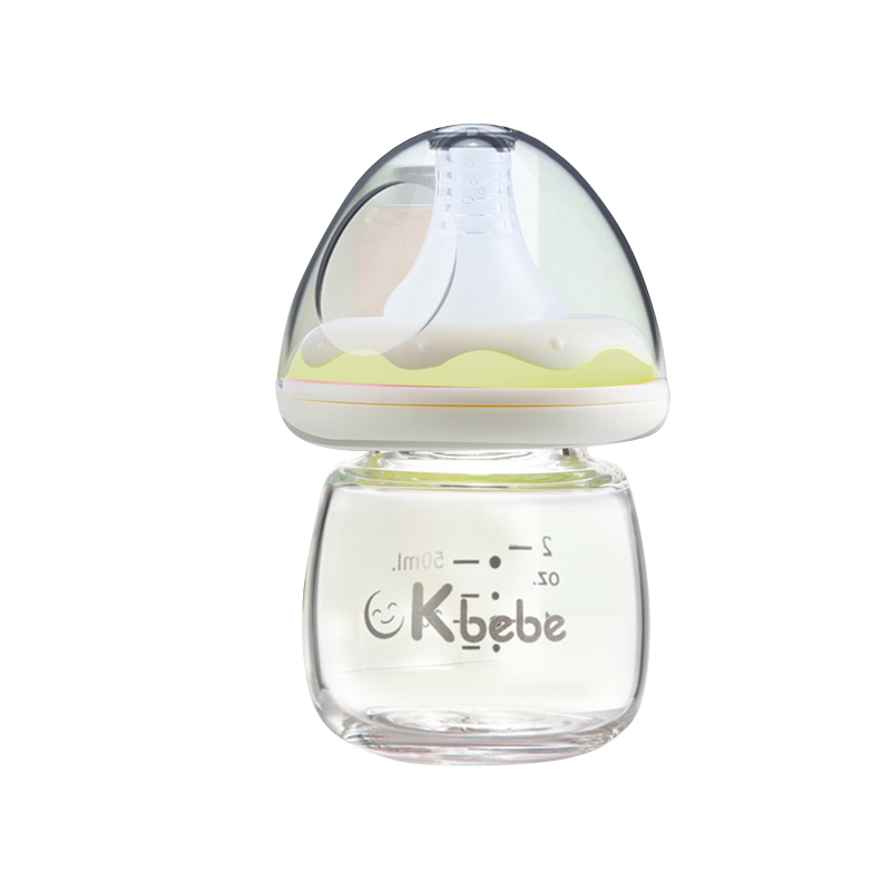 50ml Bottle Ckbebe Newborn Drink Water Milk Glass Bottle Mushroom Shape Juice Bottle Pink / Yellow Two Colors