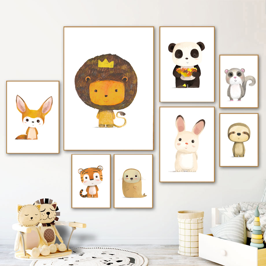 Cute Lion Fox Tiger Rabbit Sloth Panda Nordic Canvas Posters And Prints Wall Art Canvas Painting Cartoon Wall Pictures Kids Room in Painting Calligraphy from Home Garden