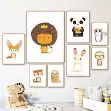 Cute Lion Fox Tiger Rabbit Sloth Panda Nordic Canvas Posters And Prints Wall Art Painting Cartoon Pictures Kids Room
