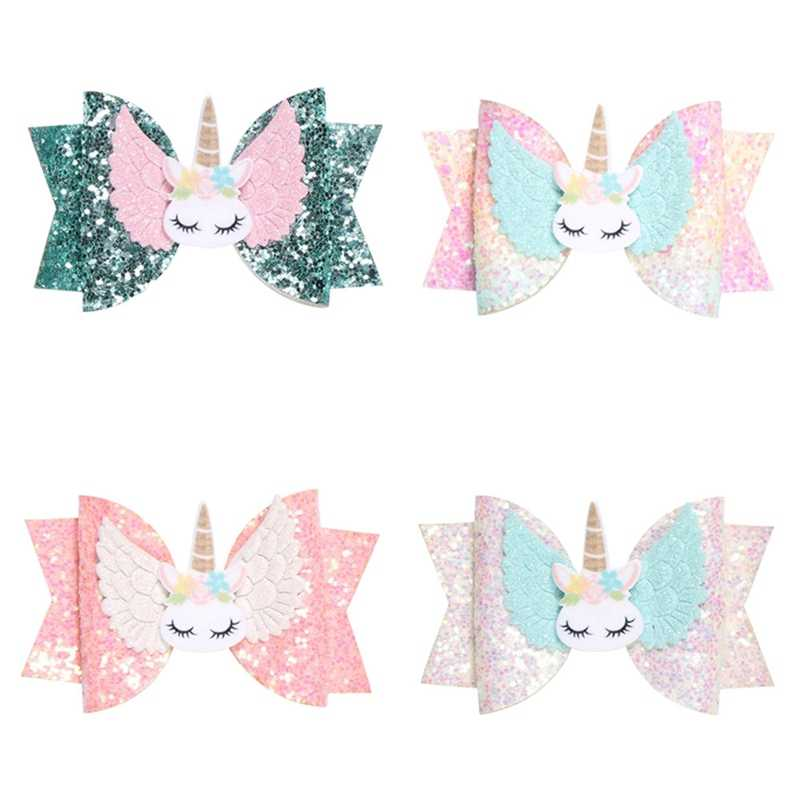 1 PC Girls Glitter Hair Bows Princess Hairpins Wing Hair Clips Unicorn Hairclips Rainbow Sequin Bow Kid Sweet Head Wear