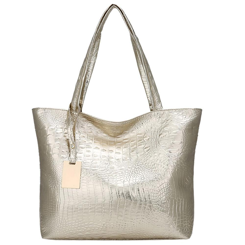 Femmes grande capacité sacs à Main doux en cuir PU Crocodile Sac dames décontracté Shopping fourre-tout sacs à bandoulière Sac Main argent or