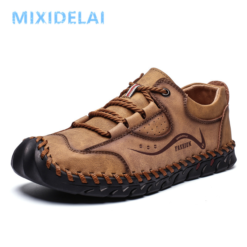 2020 New Spring Men Casual Shoes Handmade Leather Loafers Outdoor Men's Shoes Quality Split Leather Flat Moccasins Men Sneakers