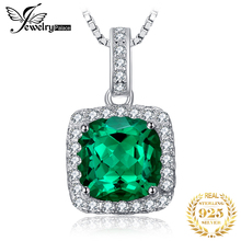 3ct Nano Russian Emerald Necklace Pendant For Women Best Gift 925 Solid Sterling Silver 2014 Brand New Promotion Jewelry Set jewelrypalace luxury pear cut 7 4ct created emerald solid 925 sterling silver pendant necklace 45cm chain for women 2018 hot