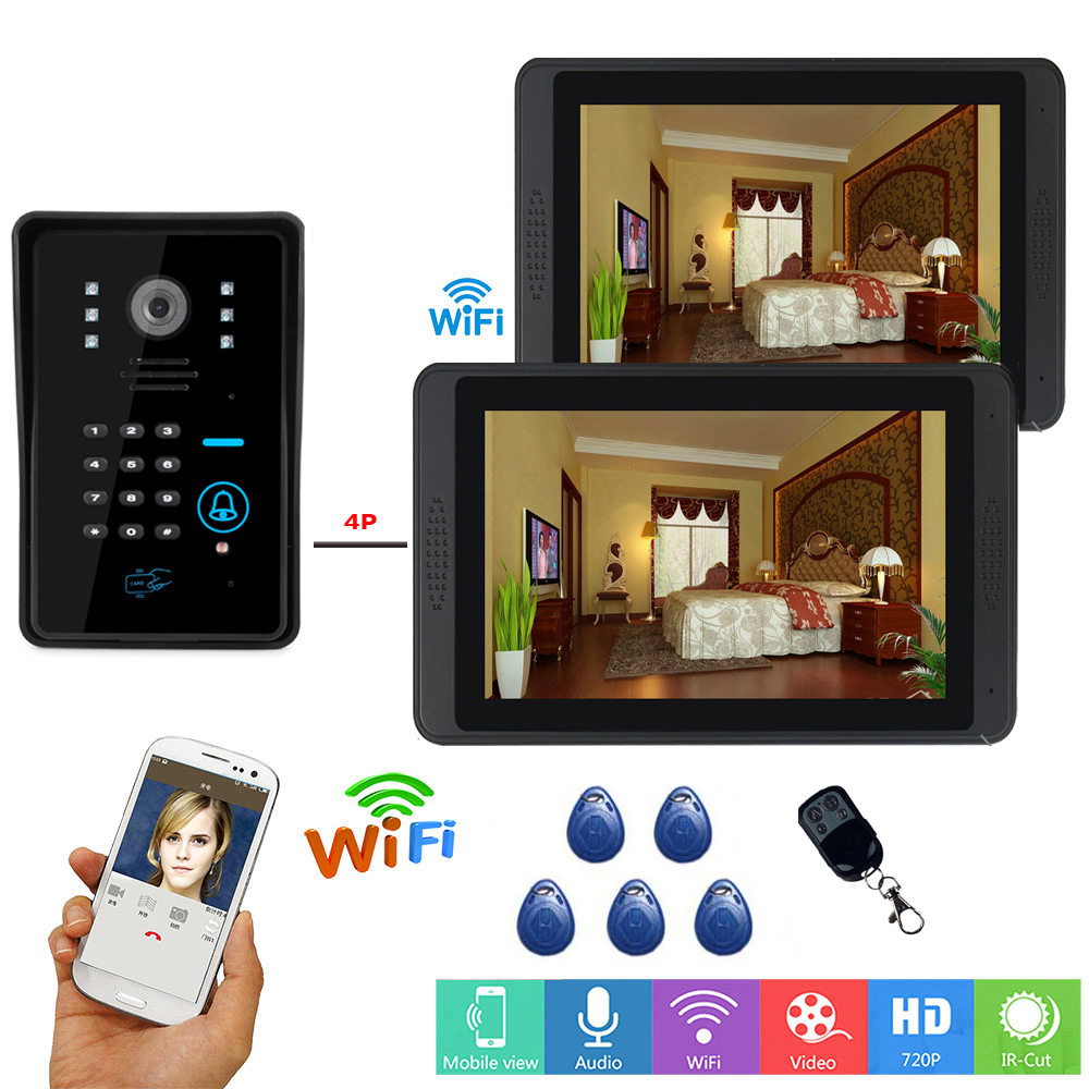 RFID Password 7 Inch Wired Wireless Wifi Video Door Phone Doorbell Intercom Entry System With 720P IR-CUT Wired Camera