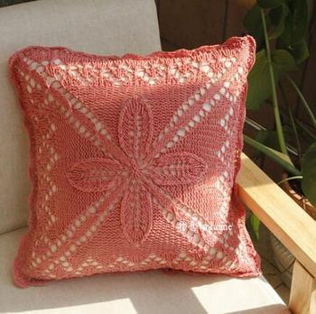 Coral macrame cushion cover