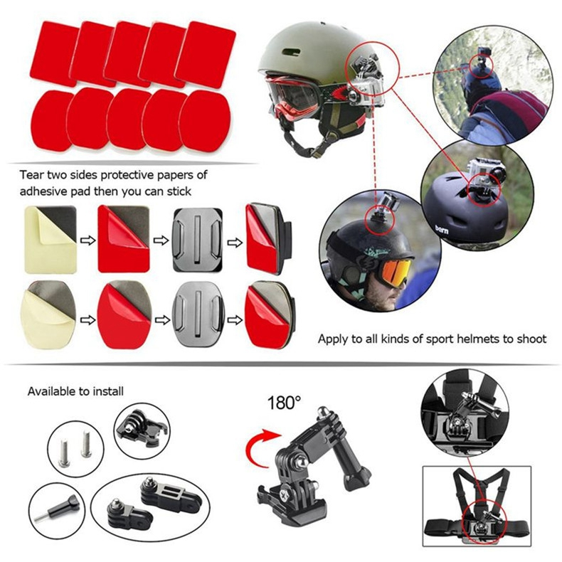 Adhesive Mounts For GoPro 8 7 6 5 4  Curved Flat Mounts 3M Sticky Pads for Go Pro Xiaomi Yi SJCAM Action Camera Helmet Board Car