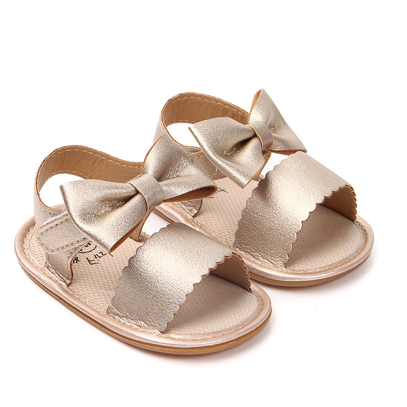 Cute Newborn Infant Baby Girls PU Leather Bowknot Sandals Anti Slip Rubber Sandals Party Princess Toddler Girl Shoes