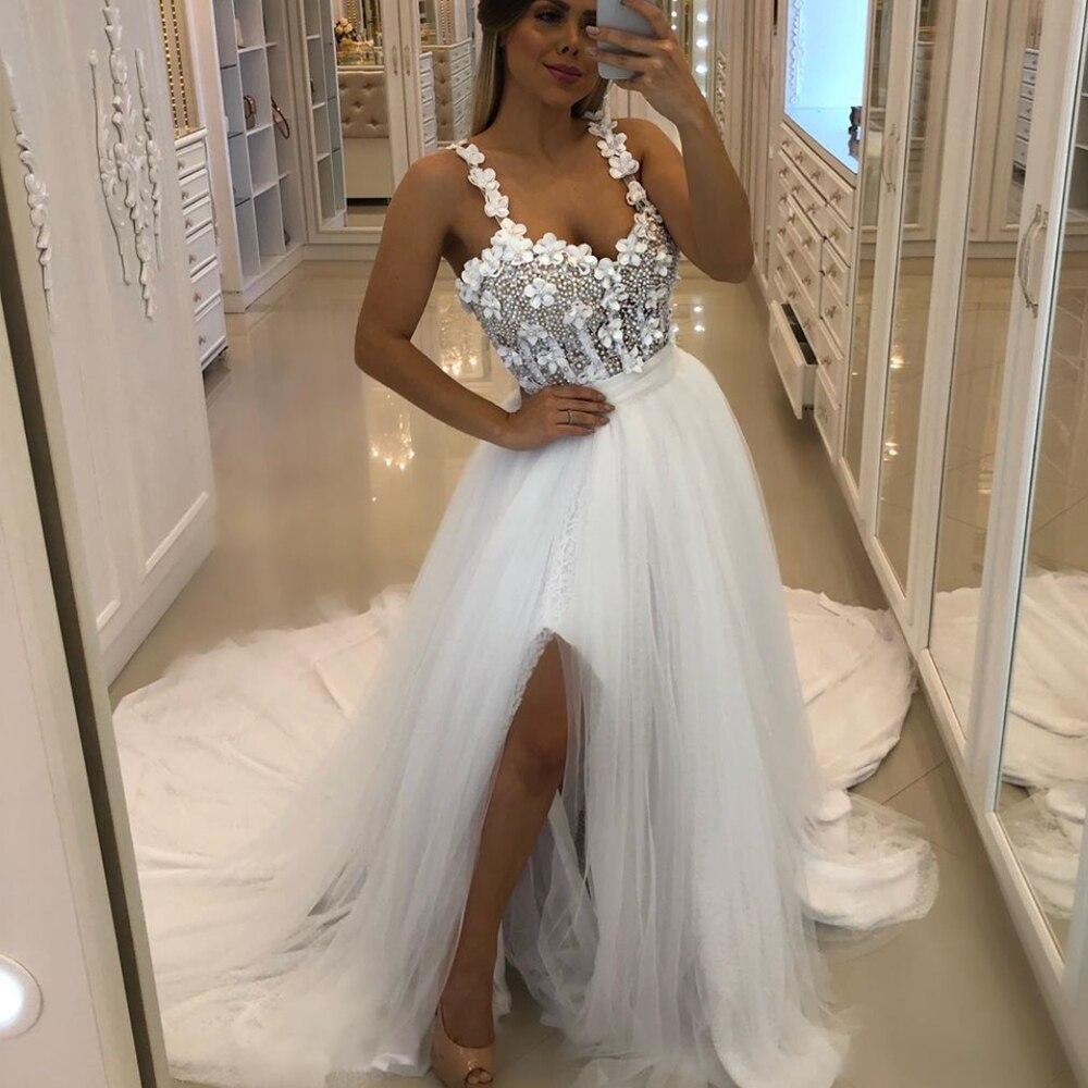 white   prom     dresses   2020 sweetheart neckline pearls hand made flowers side slit white evening   dresses   vestido formatura