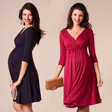 Breastfeeding Dresses Maternity Clothes for Pregnant Women Clothing Solid V neck Pregnancy Dresses  Mother Wear Evening Dress